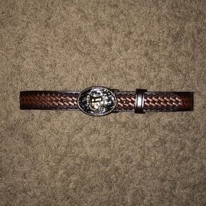 Youth Brown Cowboy Belt with Buckle - Size 24